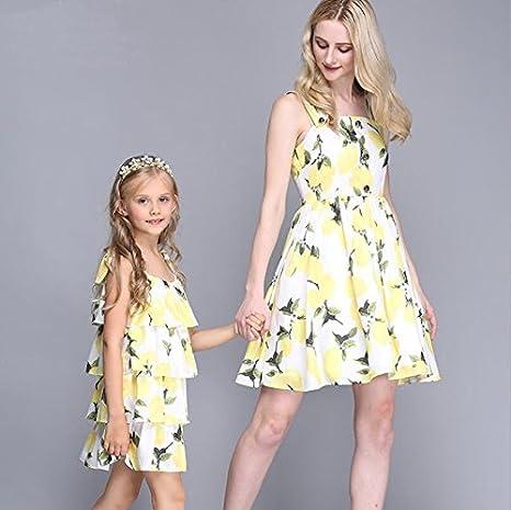 MNQ/ Summer lemon printed sundresses. mother and daughter wear. parent-child equipment SADFSF