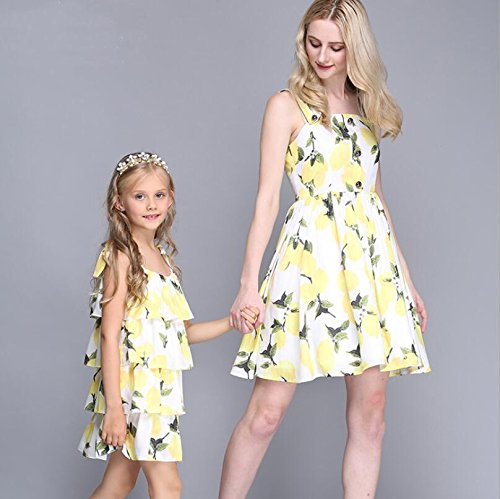 MNQ/ Summer lemon printed sundresses. mother and daughter wear. parent-child equipment SADFSF