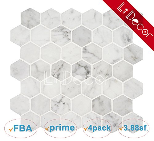 Marble Mosaic Stone Floor Tile (Italian Bianco Carrara White Marble 2 In. Hexagon Mosaic Tile Wall Floor Decorative Bathroom Kitchen Backsplash Tiles (3.88sf.,4Pack Per Case), Honed)
