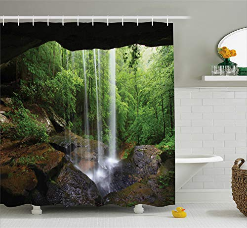 Ambesonne Natural Cave Shower Curtain, Still Waterfall in The Forest in Northern Alabama Habitat Ecosystem Scenery, Cloth Fabric Bathroom Decor Set with Hooks, 70