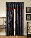 Chezmoi Collection 4-Piece Palace Jacquard Window Curtain/Drape Set with Sheer Backing, Black/Gold/Red