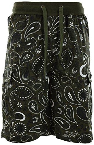 ChoiceApparel Mens Paisley Bandana Shorts (S-3XL) (M, 1427-Olive)