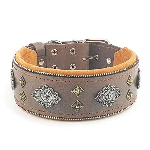 M- fits a neck of 16.7 20.6 inch Bestia  Aztec Grey genuine leather big dog collar. Unique rivet design. Soft padded