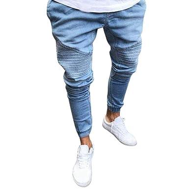 Jeans De Hombre Slim Fit De Pantalones Chándal Simple Estilo ...