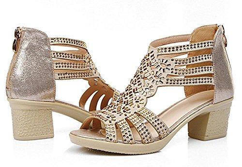 de gruesa zapatos diamantes sandalias verano mujeres Sra Gold pescado pared de sandalias con cabeza de de zapatos con los xYZ8wYvq