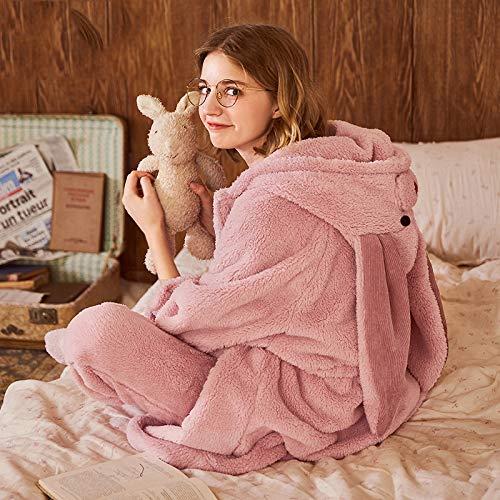 De Conjunto Mujer Para Vellón Dormir Franela Grueso Olliuge Dibujos Ropa Dulce Capucha Animados Señoras Camisones Coral Pijamas Noche Con Rosa Invierno qtI4F1w
