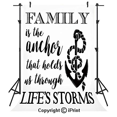 Family Photography Backdrops,Family is Anchor That Holds Us Inspiration Stylized Writing Anchor with Rope,Birthday Party Seamless Photo Studio Booth Background Banner 5x7ft,Black and White (Rope Inspirations)