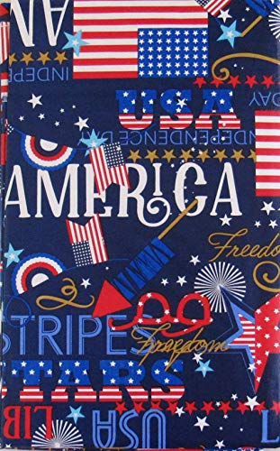 Patriotic Freedom Symbols and Sentiments Vinyl Flannel Back Tablecloth (60