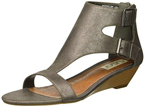 Sugar Womens' Wigout Demi Wedge T-Bar Open Toe Buckle Sandal, Pewter Metallic, 6.5 Medium US (Metallic Rhinestone Buckle)