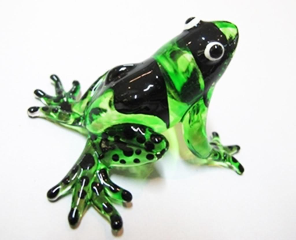 ランプワーク収集できるミニチュア手吹きアート ガラスのカエル、緑の置物 B00J3XP42O