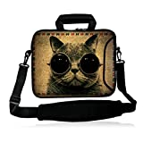 "ICOLOR Neoprene Laptop Shoulder Bag with Strap Waterproof Shoulder Case Pouch School Office Work Case Bag with Multi Pictures for Size 14.5"" 15 inch 15.6"" Pro/HP/Acer/Dell/Asus/Samsung Notebook Sunglass Cat"