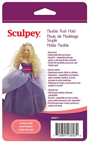 Polyform APM-71 Sculpey Flexible Push Mold, Woman Doll