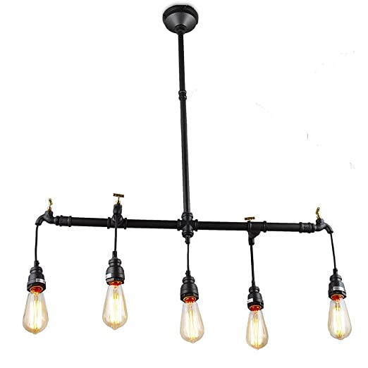 Amazon.com: Lámpara de techo de 5 luces negro pipa de agua ...