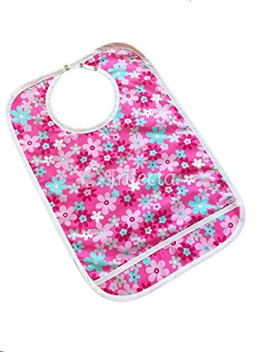 1 pack - Adult Bib w/ Pocket, Reusable Machine Washable, Mealtime Clothing Protector, Waterproof