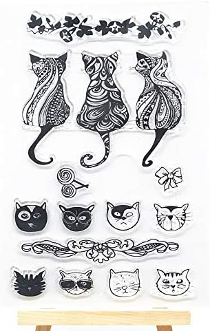 Welcome to Joyful Home 1pc Cat Background Clear Stamp for Card Making Decoration and Scrapbooking