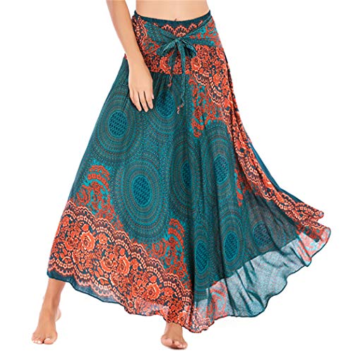 (blingdeals Women Dresses Ethnic Thailand Wind Printing Big Skirt Length Skirt Green)