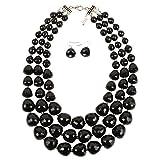 NA KOSMOS-LI 3 Layer Acrylic Black Bead Multi Strand Necklace