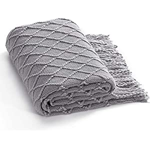 Bedsure Throw Blanket for Couch, Knit Woven Blanket, 50×60 Inches – Cozy Lightweight Decorative Throw for Sofa,Couch, Bed and Living Room – All Seasons Suitable for Women, Men and Kids (Grey)