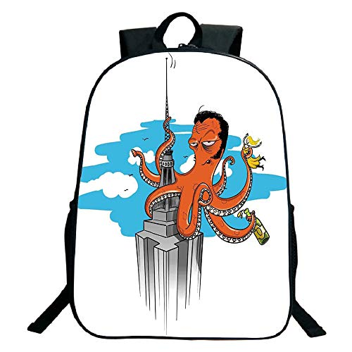 Kids School Backpack,Octopus Decor,Retro Cartoon Octopus Illustrated as King Kong on Empire State Building and Lady in Tentacles,Multi,for Kids,Print Design.15.7