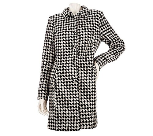Kris Jenner Kollection Houndstooth Button Front Coat Black White S New A228510