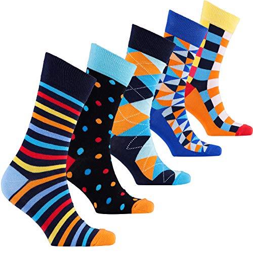 Socks n Socks-Men's 5 pair Luxury Fun Cool Colorful Mix Dress Socks Gift ()
