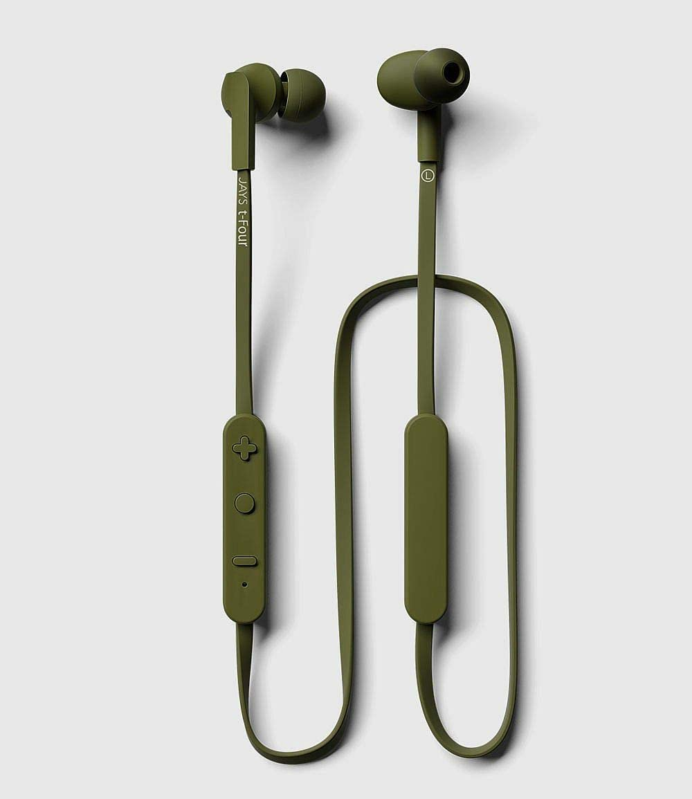 JAYS t-Four Wireless in-Ear Bluetooth Earbuds w/Kevlar Reinforced Cable, Deep Bass, Microphone and 10hrs of Playback (Green)