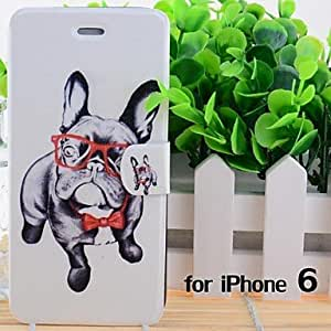 LZX Cartoon Glasses Dogs Pattern Leather Full Body Cases with Stand and Slot for iPhone 6