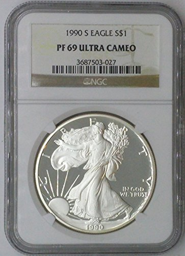 1990 S American Eagle $1 PF69 NGC $1 Silver Eagle 1 Troy Oz Fine Silver .999 PF69 Ultra Cameo NGC