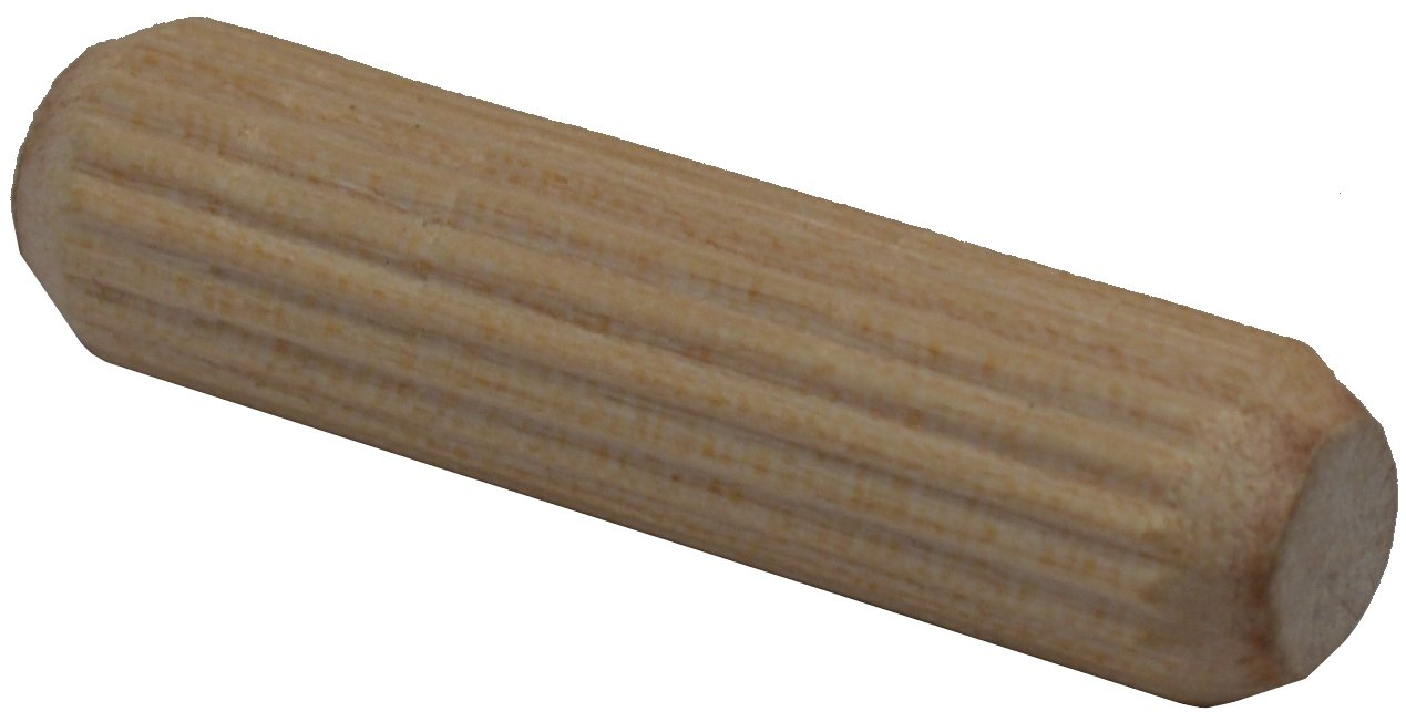 D.H.S. Fluted Dowel Pins - 3/8'' x 1-1/2'' (.375 x 1.5) - Hardwood w/Beveled Ends - Bag of 1,000