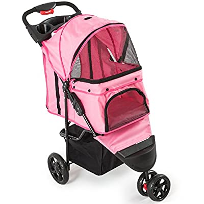 Fur Family Foldable Pet Stroller Cat Dog Cage 3 Wheels, with Cup Holder from Fur Family