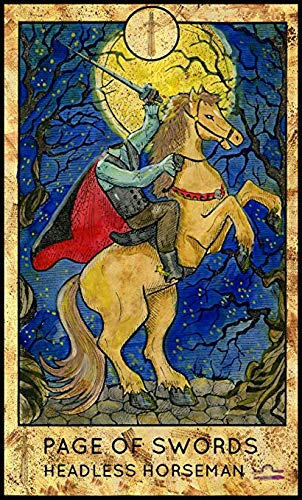 Cool Colorful Magical Fortune Future Tarot Cards Cartoon - Page of Swords Headless Horseman (4