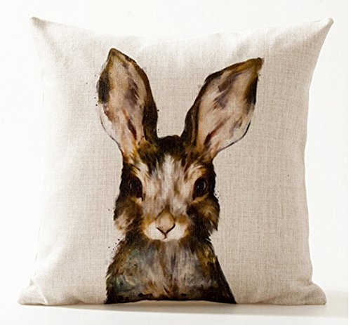 Nordic Simple Ink Painting Watercolor Animal Adorable Bunny Rabbit Cotton Linen Throw Pillow Case Personalized Cushion Cover NEW Home Office Decorative Square 18 X 18 Inches Christmas (Rabbit Decor)