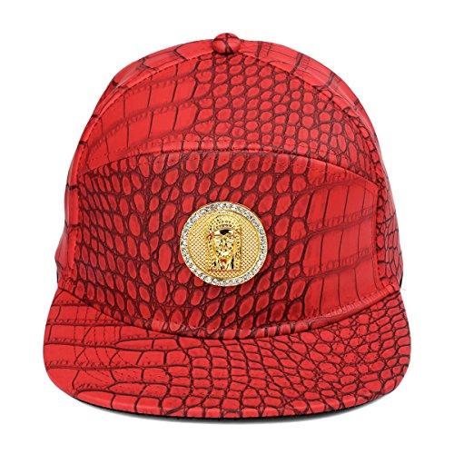 béisbol del MCSAYS Tag Ronda patrón ala Hombre la cristal tachonado Rojo hebilla plana sombrero cuero del de cocodrilo Gorra Jesús de cinturón de del Snapback de PU de F4tnwgBxq4
