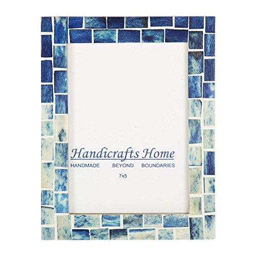 Indigo Mosaic Photo Frame Bone Handmade Picture Frames from Hanidcrafts Home Size 5x7x1 -