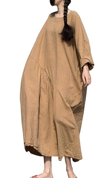 eb42b6489d46 BUYKUD Women Cotton Linen Casual Loose Pleated Long Sleeve Khaki Maxi Dress