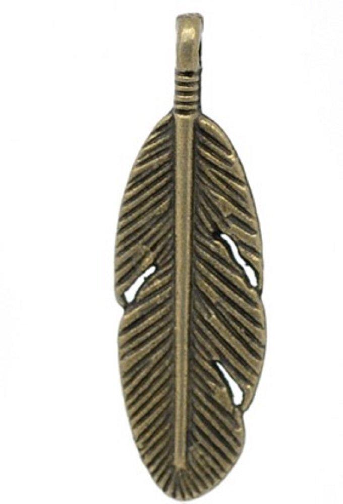 SiAura Material 10 St/ück Anh/änger Charm Feder 9x30mm Bronzefarben