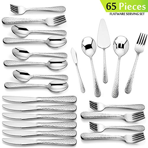 Hammered Silverware Serving Set, HaWare 65-Piece Stainless Steel Flatware Cutlery for 12, Elegant & Classic Design Tableware Set for Home/Hotel/Restaurant, Dishwasher Safe
