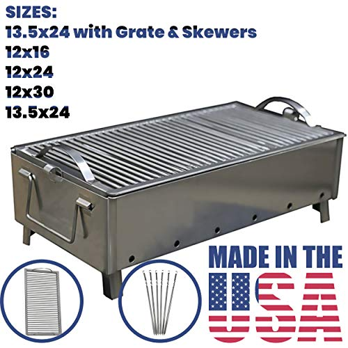 - BAS Metal Stainless Steel Charcoal Grill Folding Portable Kebab Shish Barbecue BBQ Outdoor Cooking Camping (XXL Grate & Skewers 13.5x24)