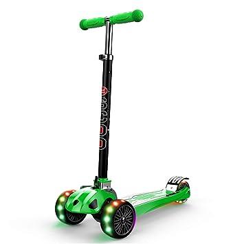 JianMeiHome Kick Scooter Scooter de Tres Ruedas para niños 3-12 años Scooter de Rueda Brillante para niños, diseño Plegable Verde: Amazon.es: Hogar