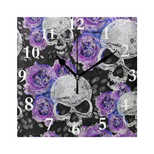 Chu warm Wall Clock Abstract Floral Rose Sugar Skull Silent Non Ticking Decorative Square Digital Clocks for Home/Office/School Clock