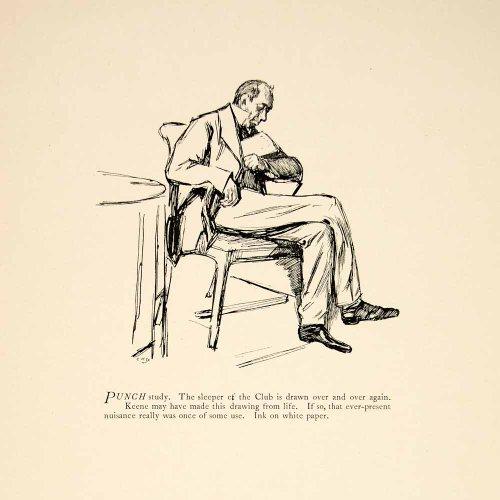 1897 Wood Engraving Charles Keene Punch Study Club Sleeper Man Figure Sketch Art - Original Wood Engraving