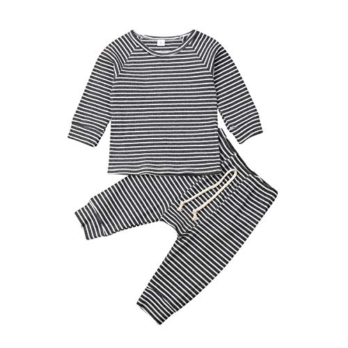 Baby Boys Girls Organic Cotton Fall Winter Clothes Tee and Pants 2-Piece Pajama Set Solid Color Sleeper Outfit (#3 Grey Stripe, 0-6 Months)