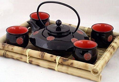 Contemporary Art Decor Porcelain tea set 5 pcs In Wooden Gift Box