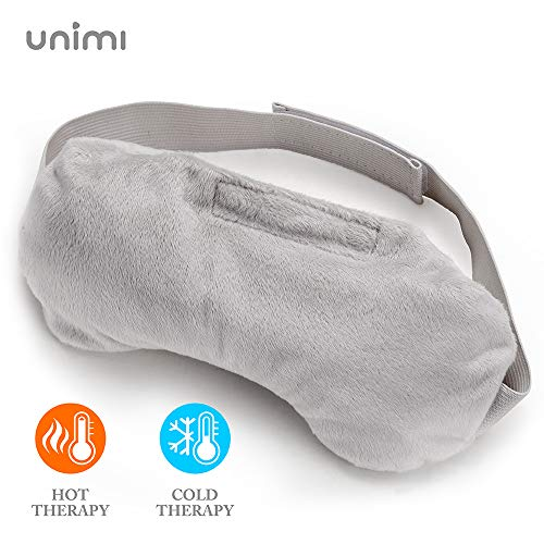 Unimi Lavender Eye Pillow, Aromatherapy Eye Mask for Sleeping, Weighted Sleep Mask for Men & Women, Hot Therapy Eye Cover for Yoga, Headache, Puffy Eyes, Migraine Relief, Sinus Pain