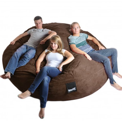 8' Round Chocolate Brown SLACKER sack Biggest Foam Bean Bag Microfiber Cover Dark Brown like LoveSac
