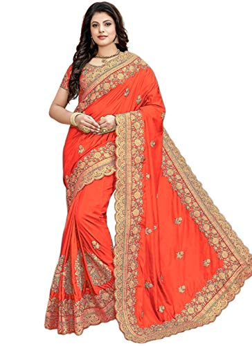 - Nivah Fashion Women's Silk Heavy-Embroidery work sari With Blouse piece K838 (Orange)