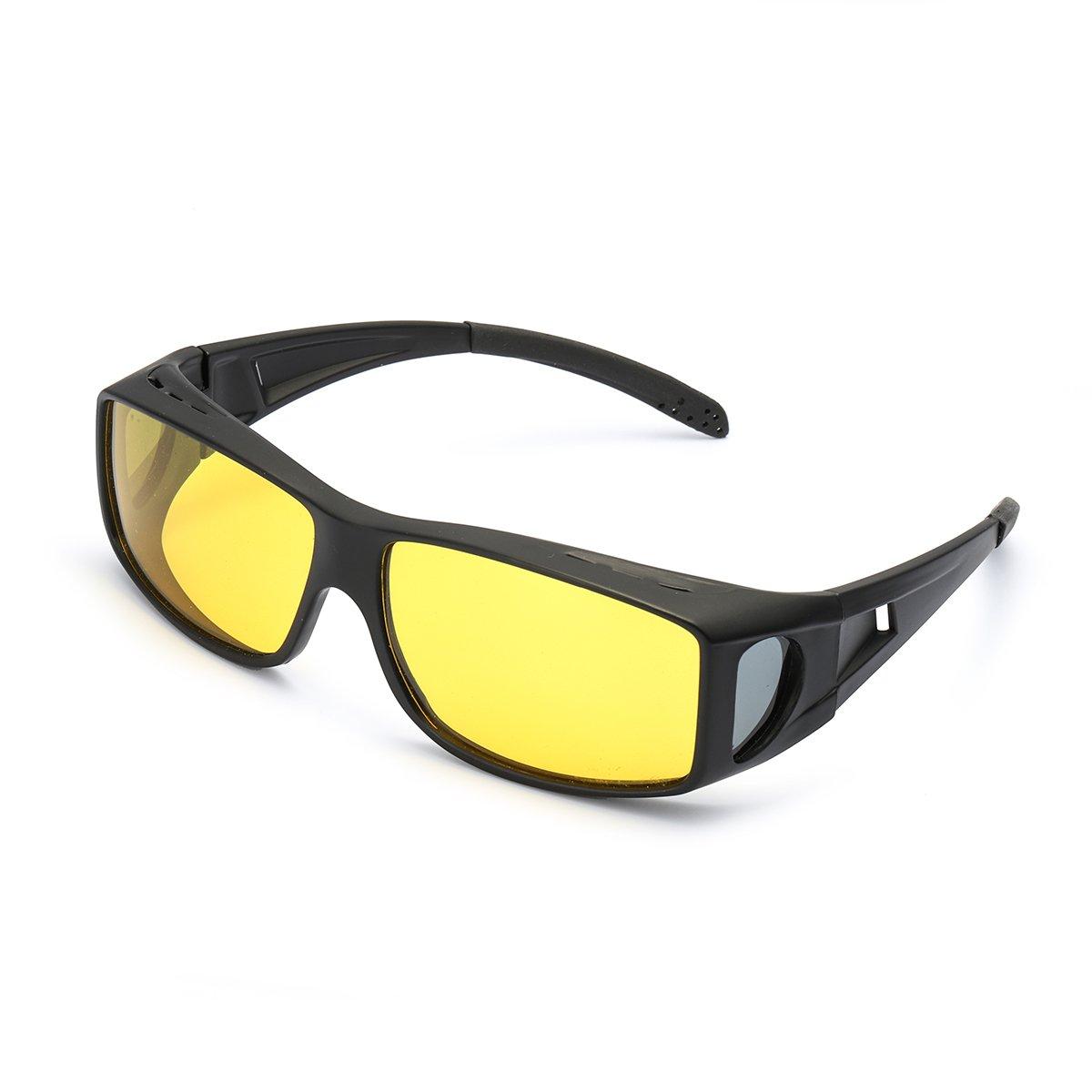 Wrap Around Style Polarized Night Driving Glasses to Wear Over Regular Prescription Glasses (Black, Yellow)