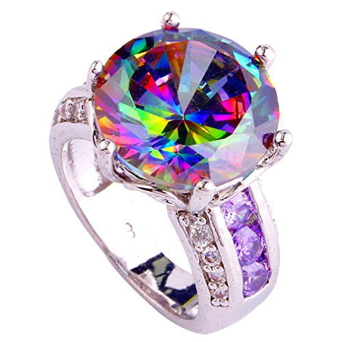 YAZILIND Wedding Band Rainbow Round Crystal Silver Plated Engagement Ring For Women Gift