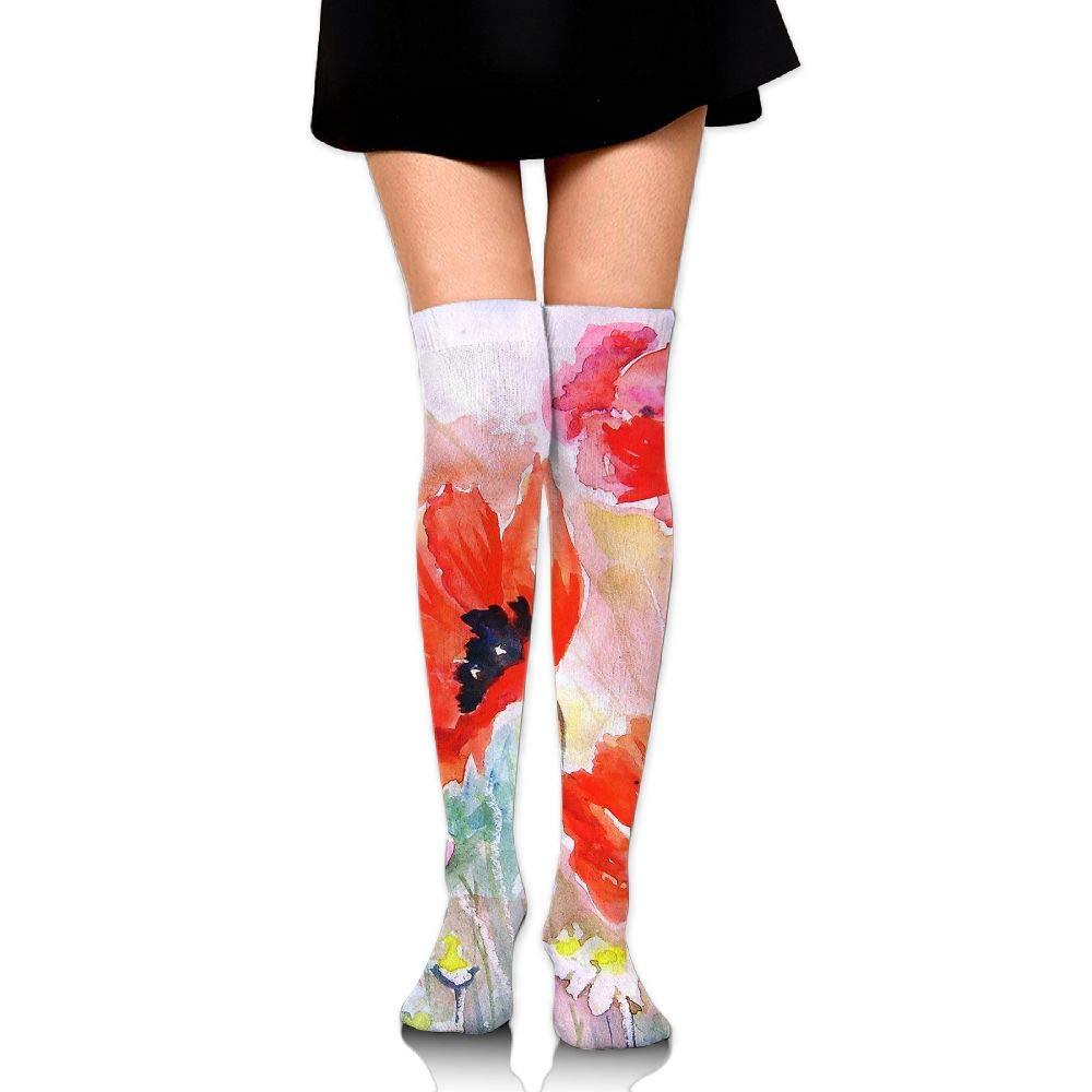 High Elasticity Girl Cotton Knee High Socks Uniform Tulips Painting Women Tube Socks