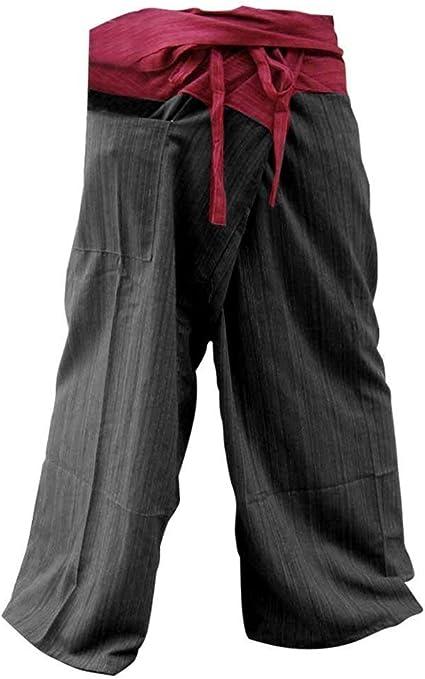 Black Thai Fisherman Wrap Pants Trousers Yoga Massage Pregnancy Pants Free Size